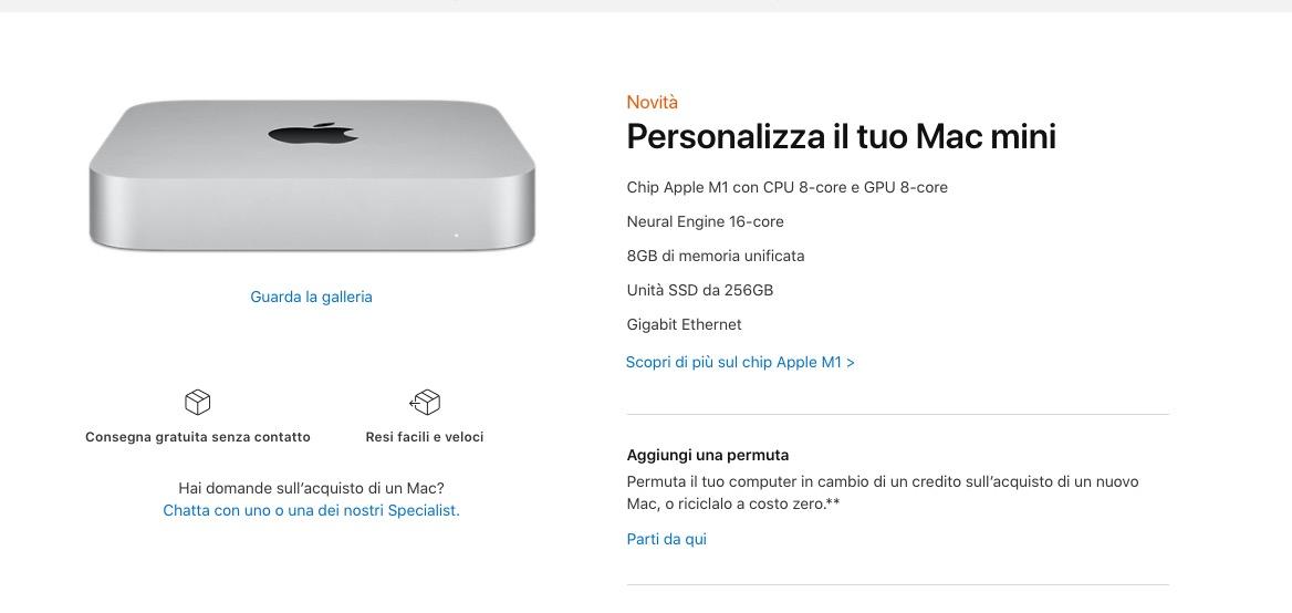 Tutti i prezzi dei nuovi Mac con processore Apple M1
