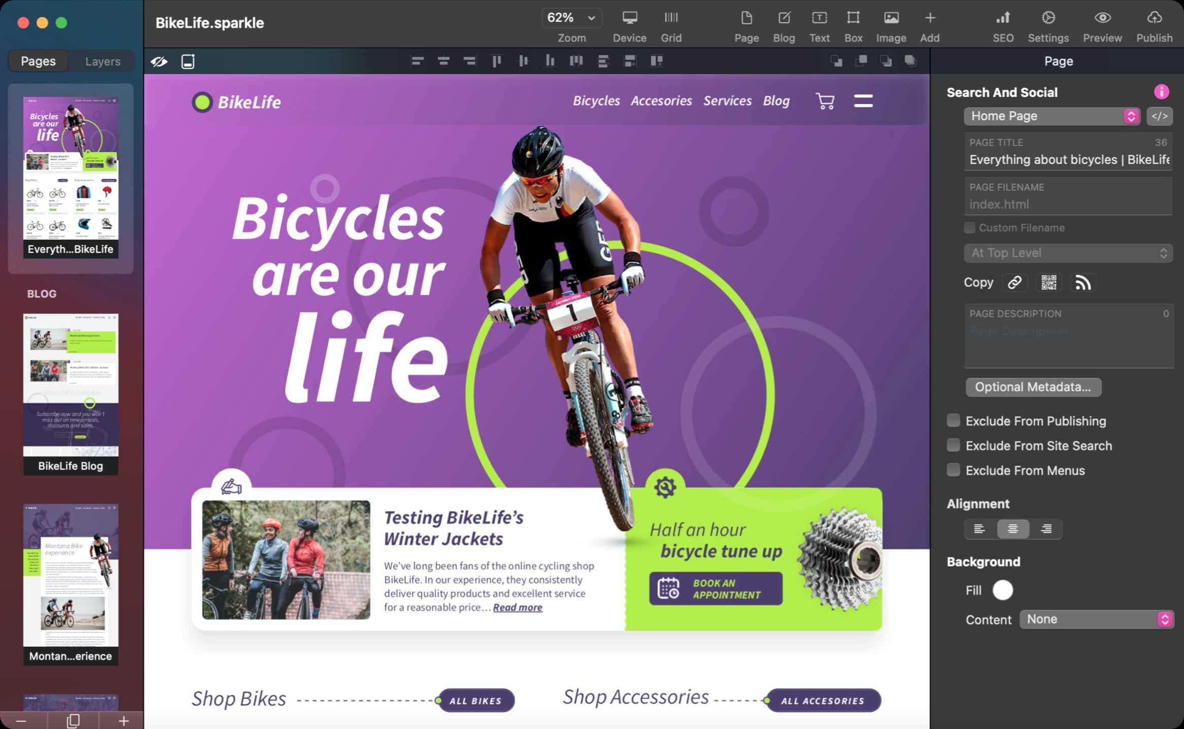Sparkle 3, l'editor per creare siti web senza programmare ora nativo per i nuovi Mac e altre novità