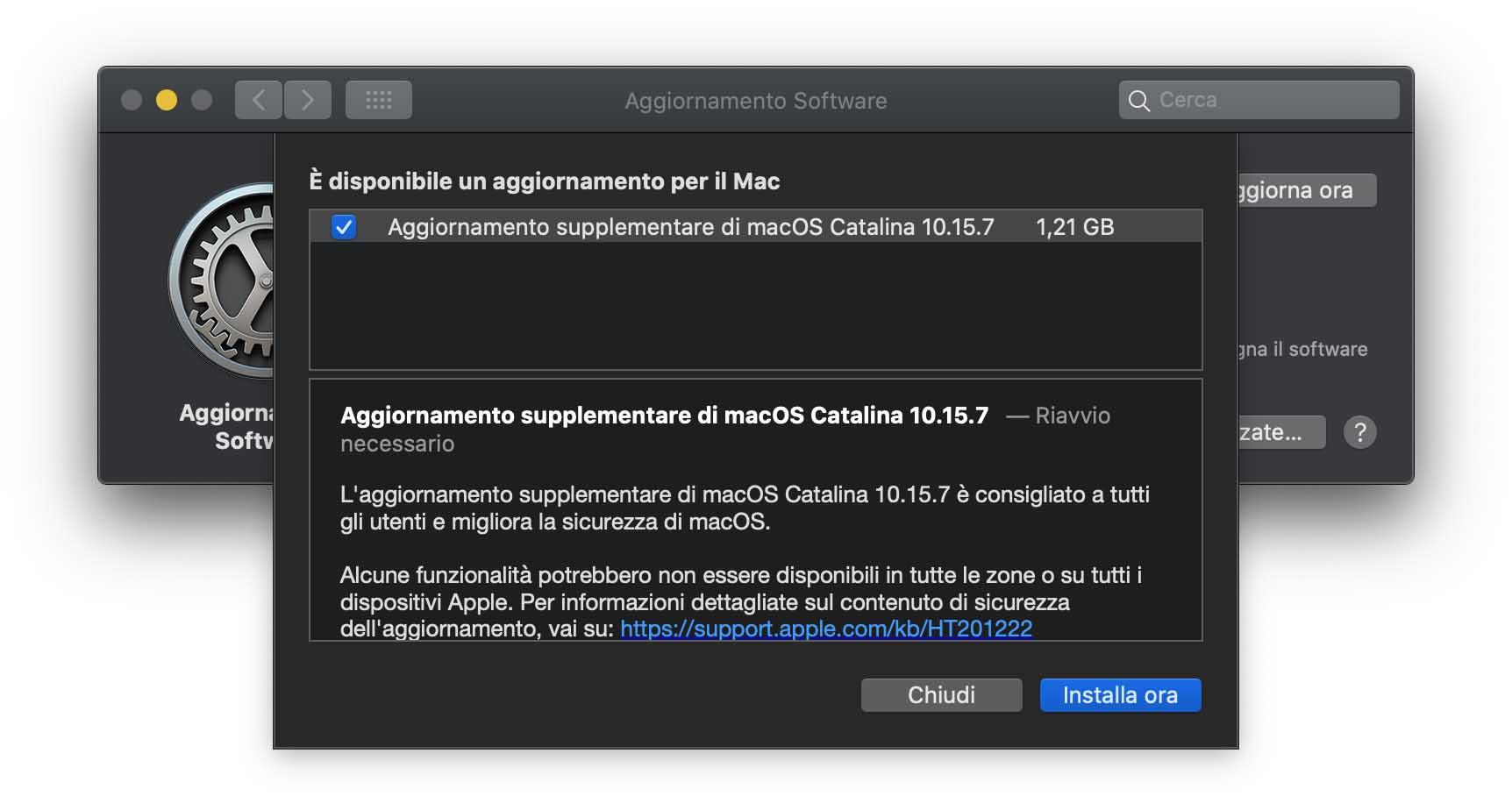 Update supplementare per macOS Catalina 10.15.7