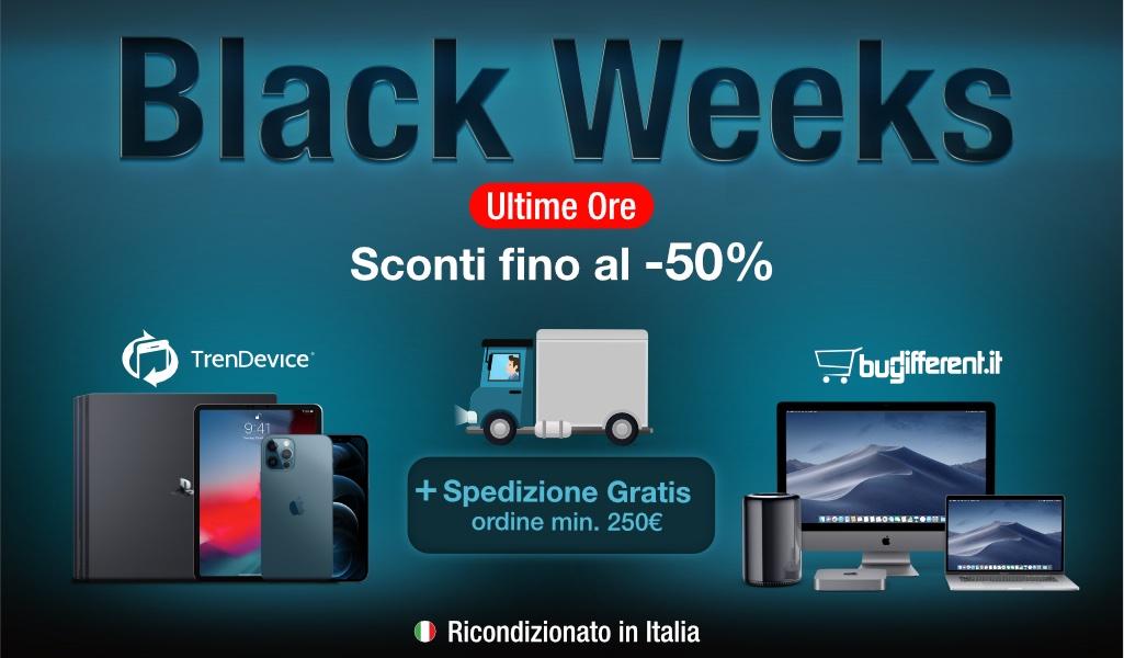 Ultime ore Black Weeks: iPhone e Mac scontati fino al -50% con spedizione gratis, su TrenDevice e BuyDifferent