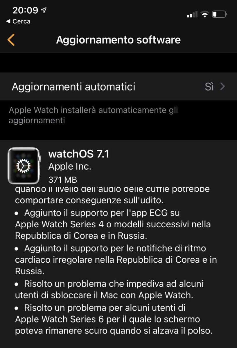 Dusponibile watchOS 7.1 con notifiche livello dell'audio delle cuffie e altre novità