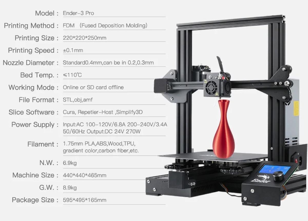 Solo 150 la stampante Creality 3D Ender 3 PRO, fra le migliori nel rapporto qualità prezzo