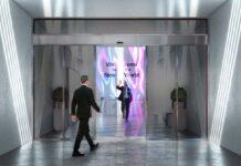 LG ha creato porte scorrevoli con display OLED trasparenti