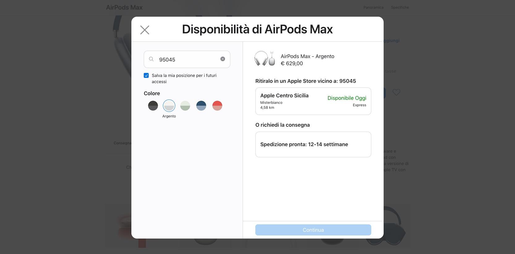 AirPods Max disponibili per il ritiro in giornata presso gli Apple Store in Italia