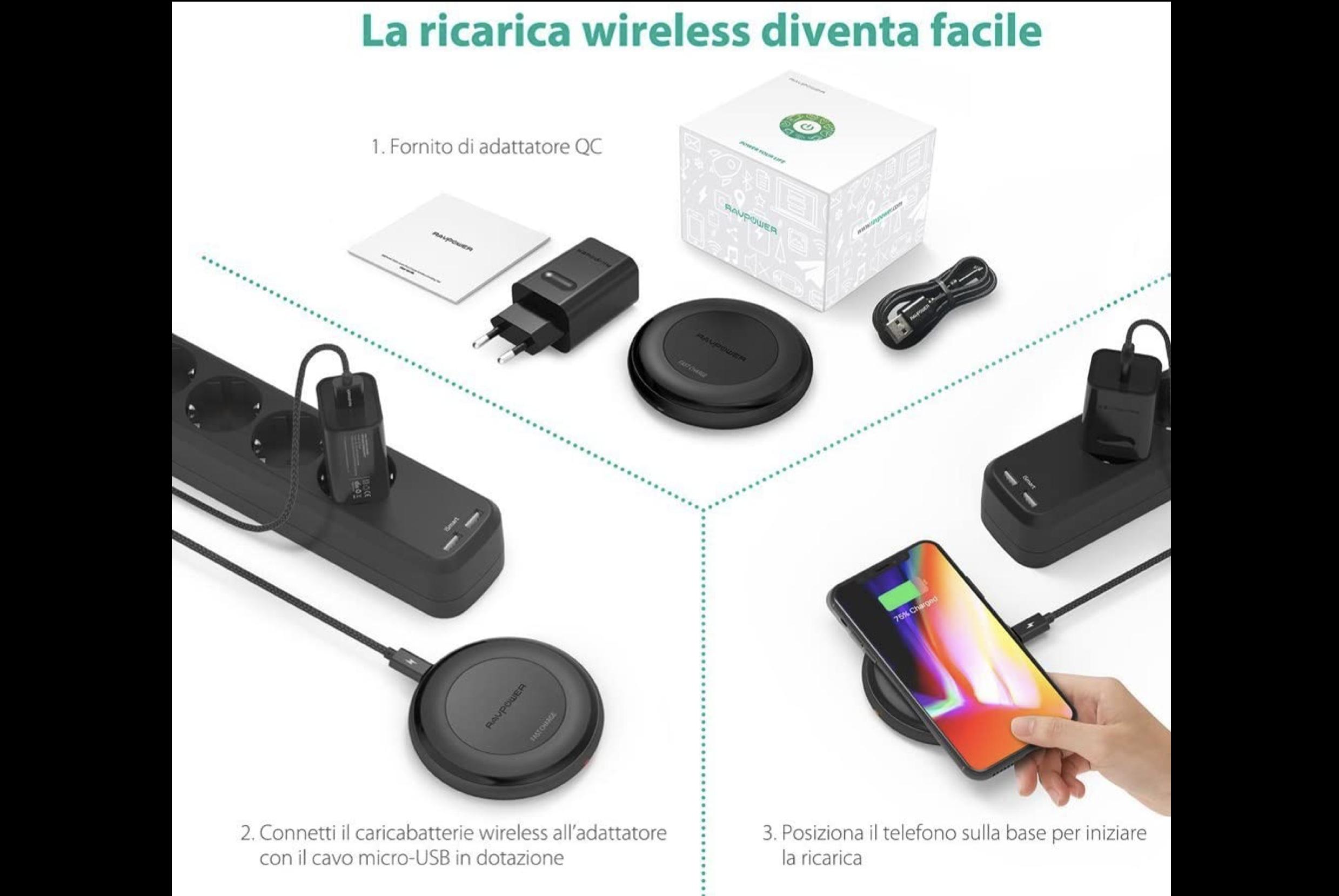 Caricabatterie wireless con alimentatore …