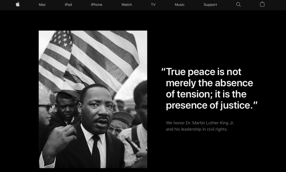 Apple rende omaggio a Martin Luther King Jr. nella homepage