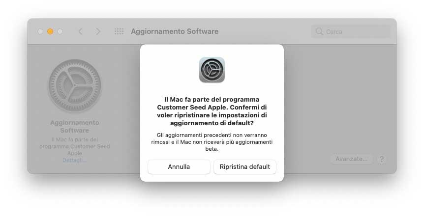 Come annullare la ricezione di versioni beta di macOS