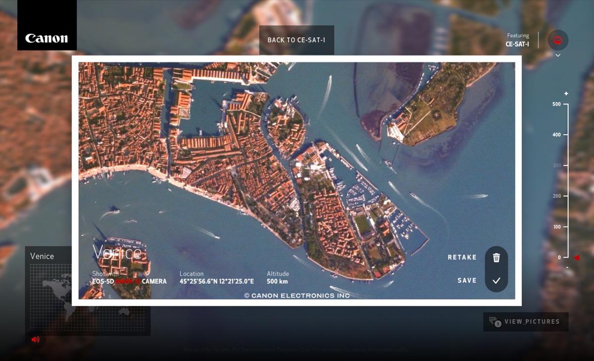 canon sito per scattare foto da satellite