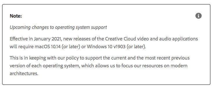 Adobe, per la Creative Cloud servirà un Mac con Mojave o seguenti