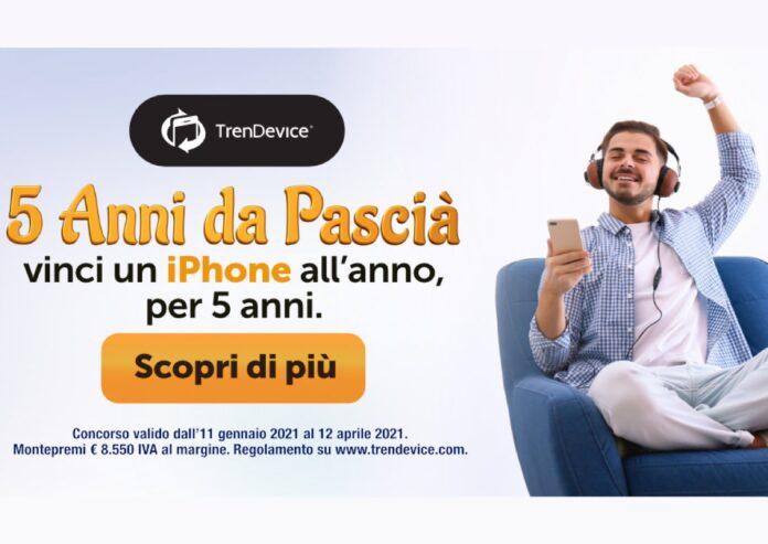 5 anni da Pascià: vinci un iPhone all'anno, per 5 anni. Concorso a premi TrenDevice