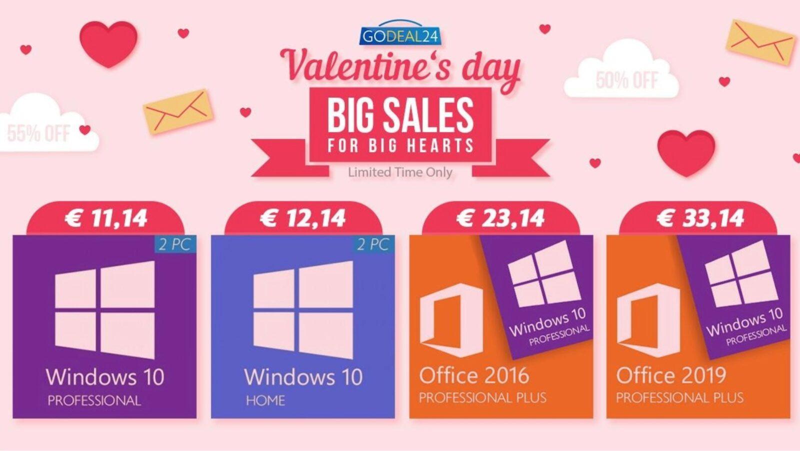 Solo 15 € per Microsoft Office, 5 € per Windows 10: già online le offerte di San Valentino di Godeal24