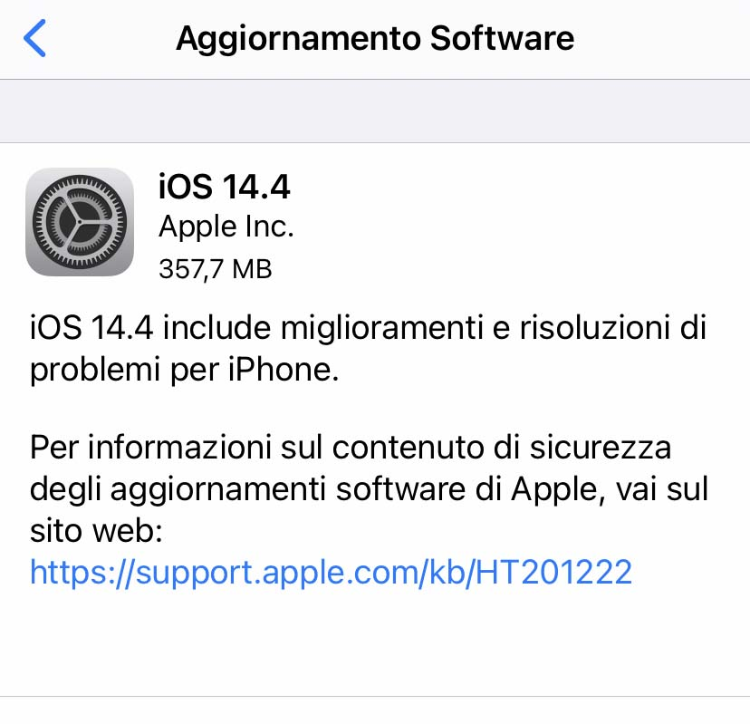 Disponibile aggiornamento a iOS 14.4 e iPadOS 14.4