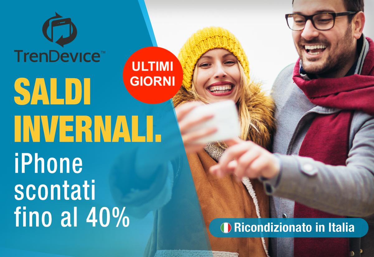 Ultimi giorni Saldi Invernali TrenDevice: iPhone scontati fino al 40%. iPhone X da 379,90 €, iPhone 8 da 229,90 €