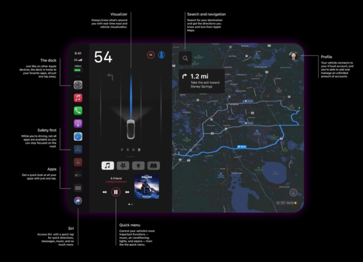 CarPlay immaginato su una Apple Car in stile Tesla, il video