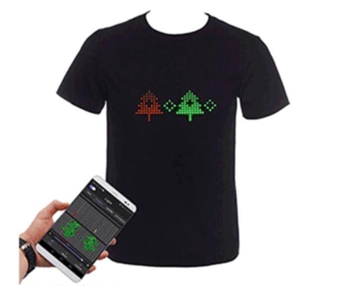 T-shirt luminosa grazie ai LED programmabili via smartphone a 28,11 euro