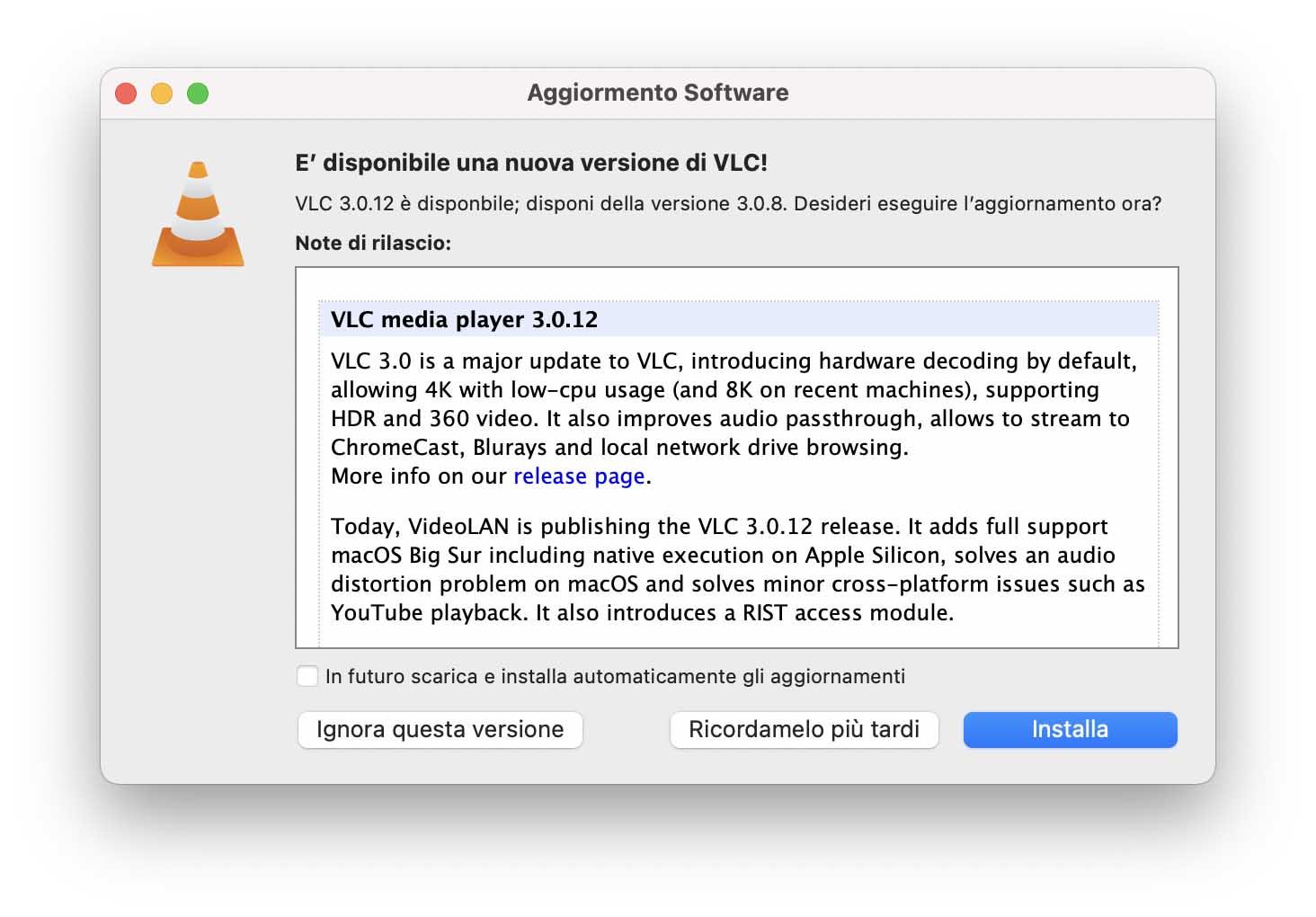 Il player VLC ora nativo per i Mac con processore M1