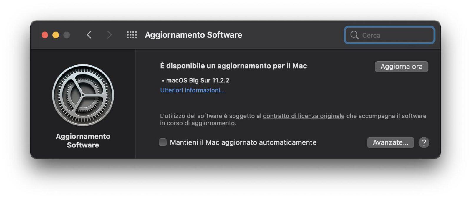 Disponibile l'aggiornamento a macOS Big Sur 11.2.2