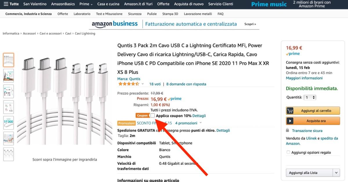 Cavo USB-C Lightning da 2m al prezzo più basso: kit da tre a 5 euro l'uno con coupon
