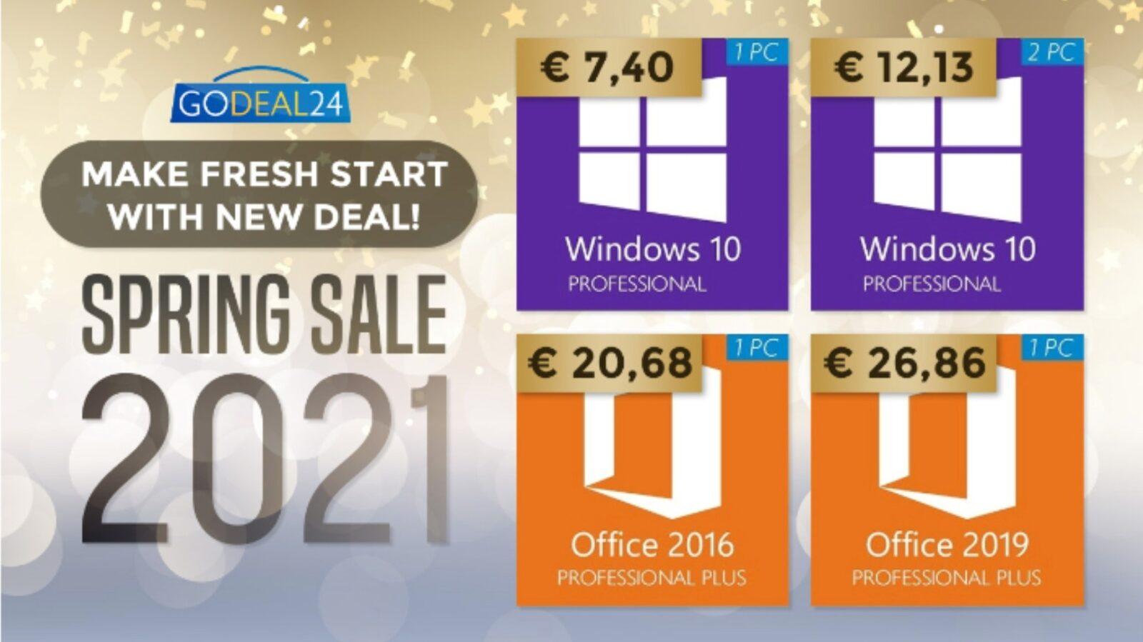 Solo 7 € per Windows 10, solo 15 € per Microsoft Office: gli sconti di primavera su Godeal24