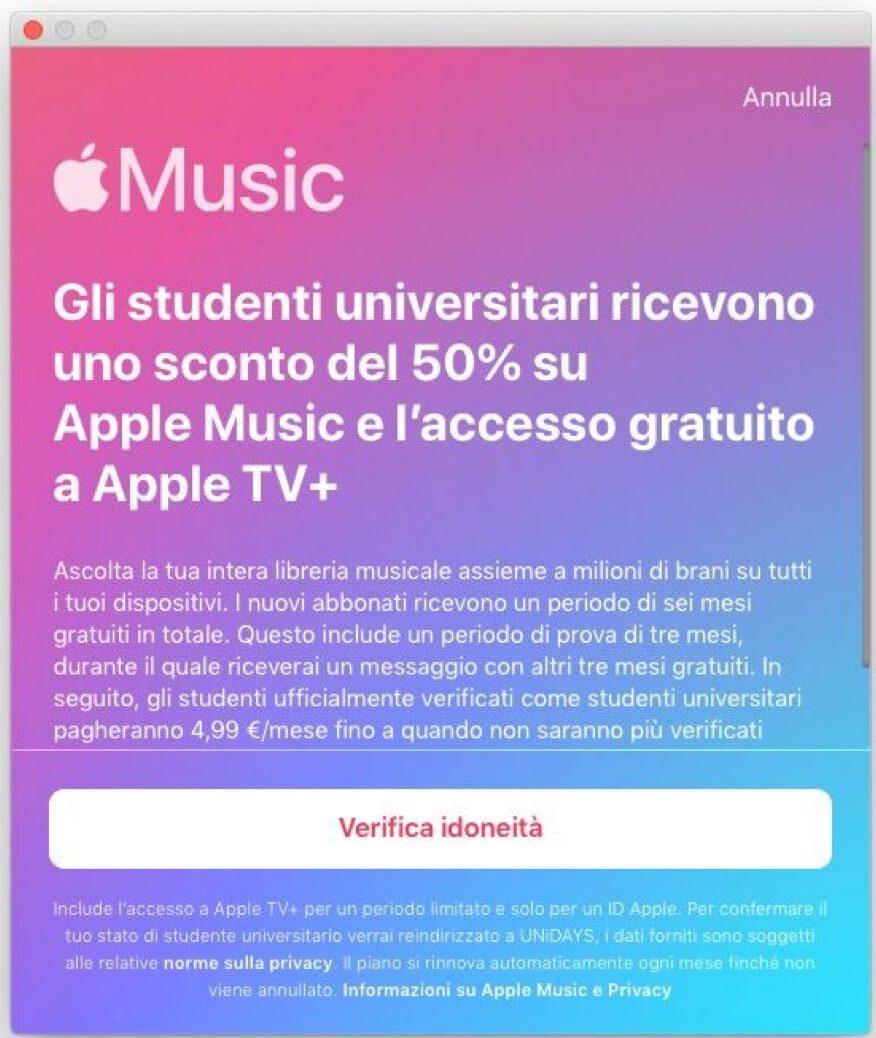 Sei mesi gratis Apple Music e Apple TV+ incluso per gli universitari