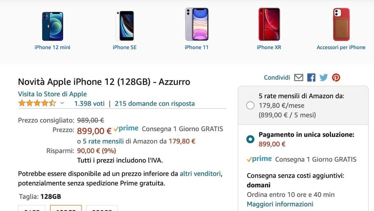Come acquistare iPhone 12 a rate su Amazon senza busta paga, senza finanziamento e con carte ricaricabili