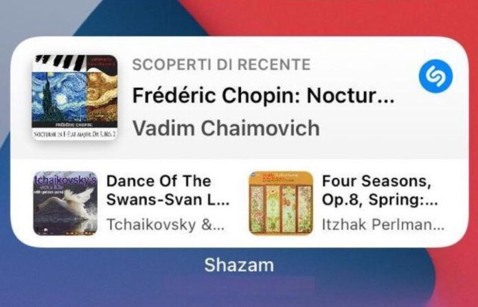 Apple aggiorna Shazam con il widget per iPhone