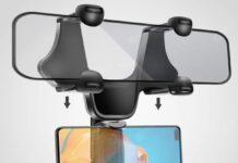Supporto auto per smartphone sotto lo specchietto retrovisore: in offerta a 6 €