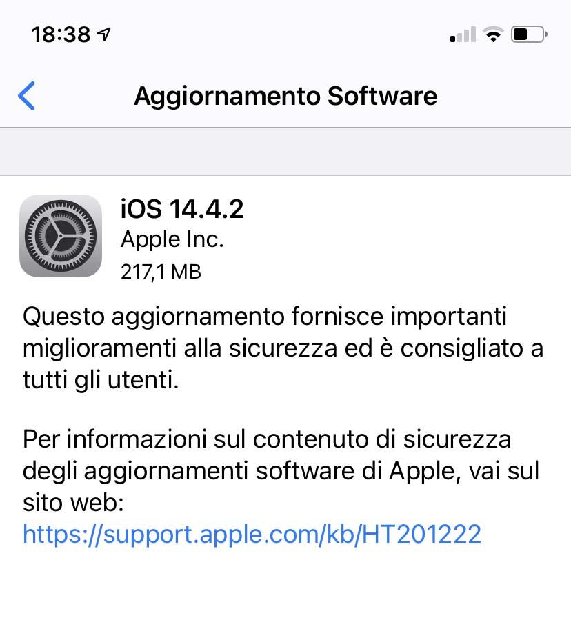 Disponibili iOS e iPadOS 14.4.2 con importante fix per la sicurezza