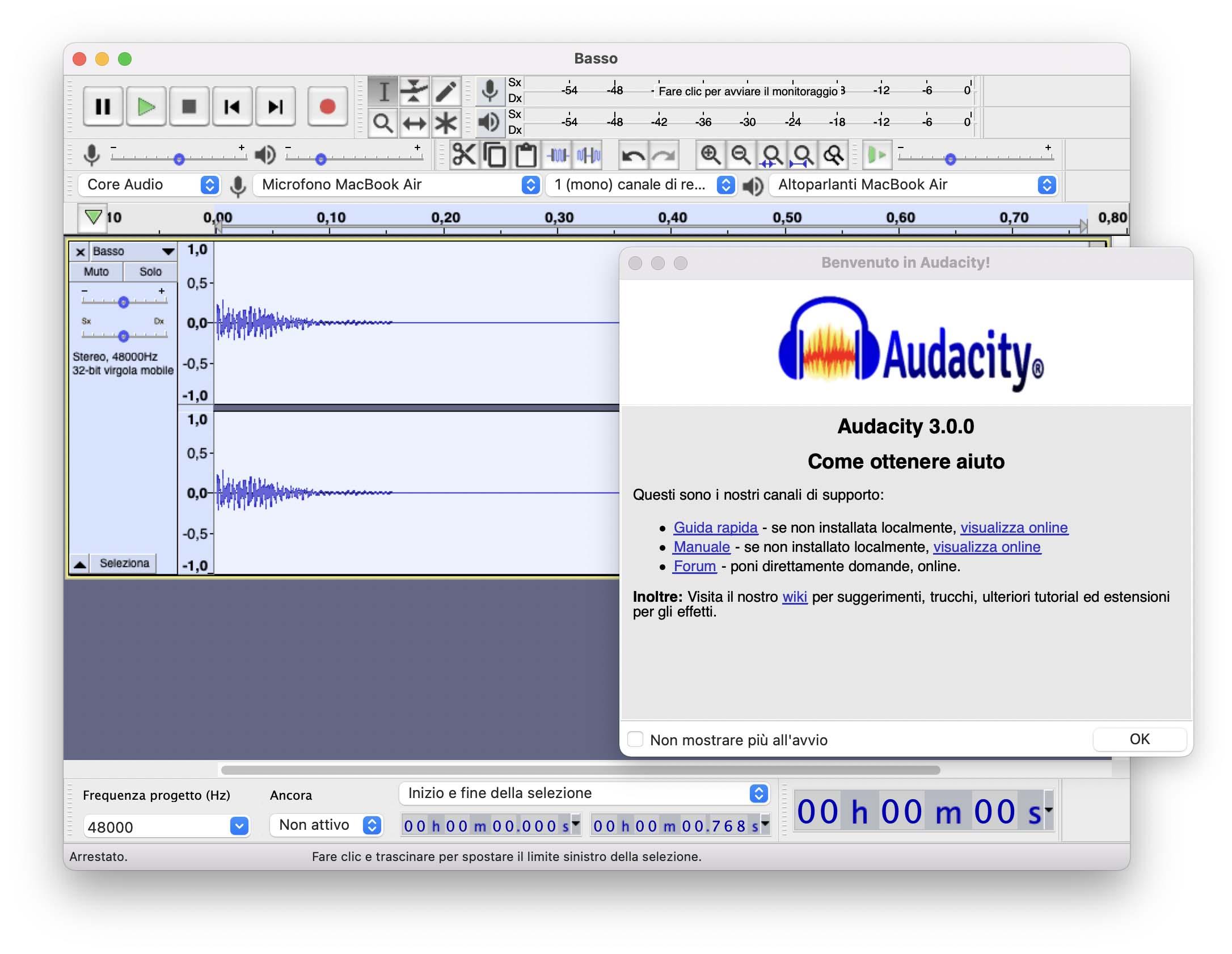 Audacity 3.0 cambia formato di registrazione dei file