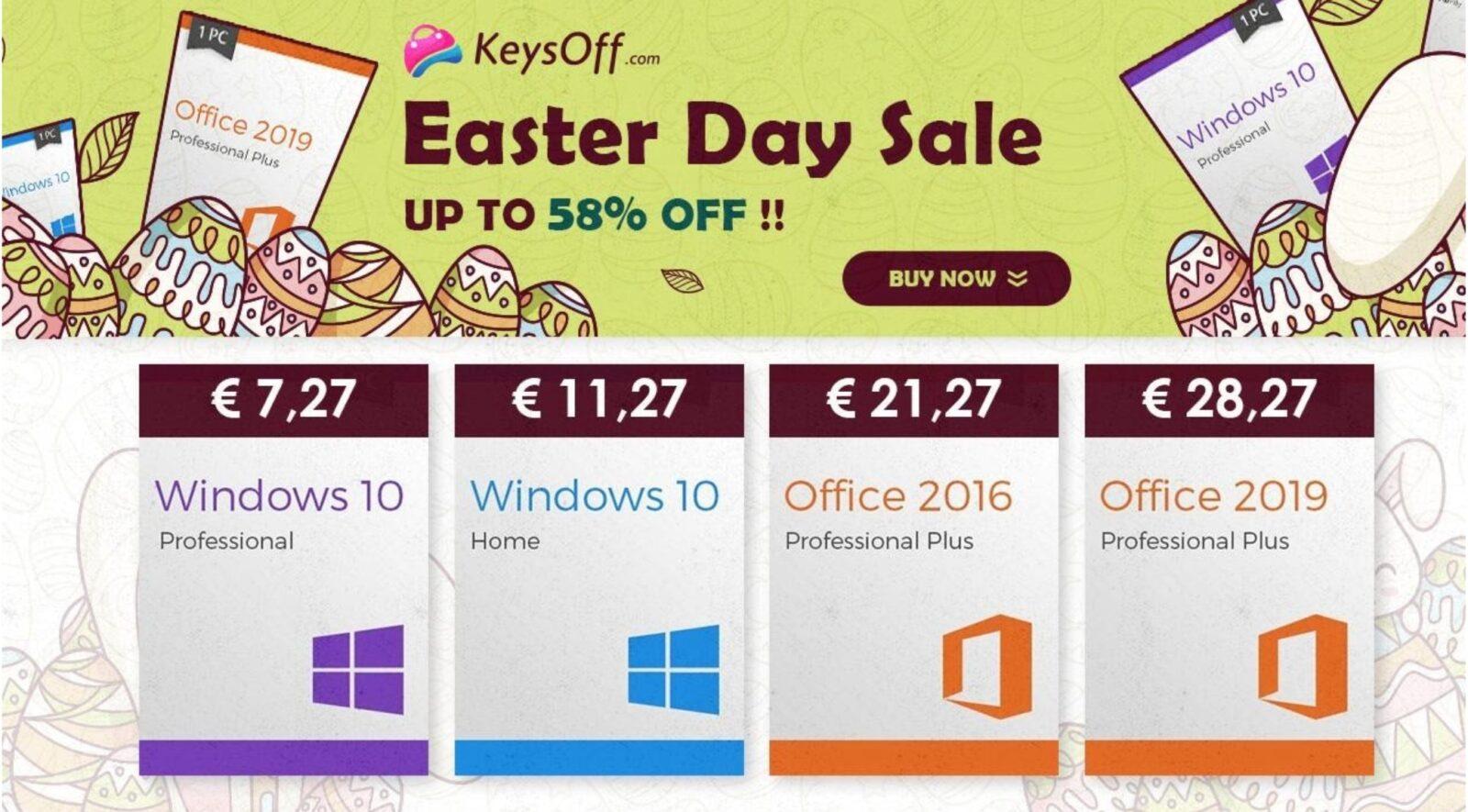 Sconti Pasquali Microsoft: Windows 10 Pro solo 5 €, Office 2019 Pro Plus solo 28 €