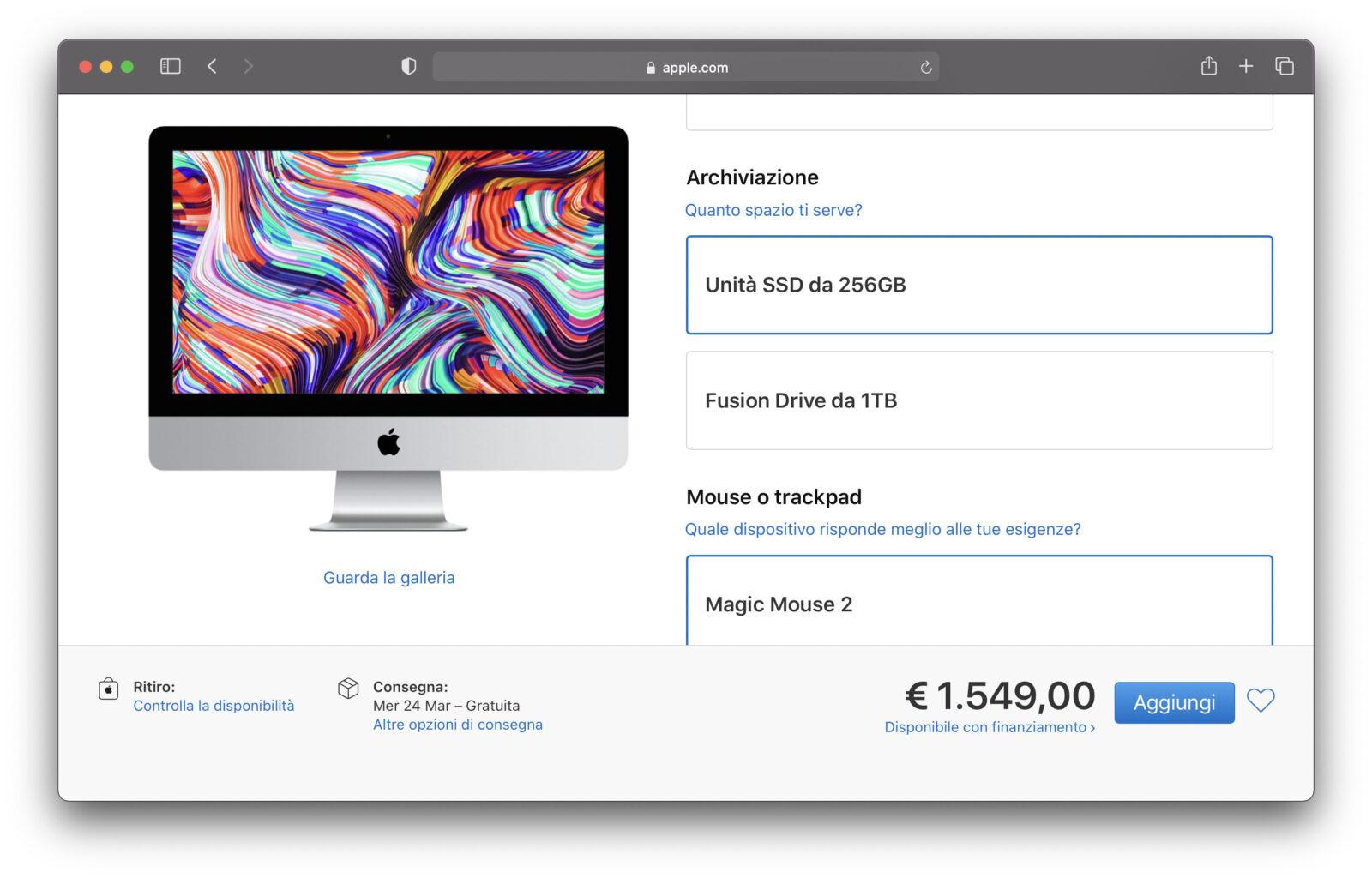 Apple non offre più con l'iMac 21,5″ 4K SSD da 512GB o 1TB