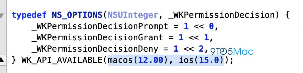 Nel WebKit riferimenti a macOS 12 e iOS 15