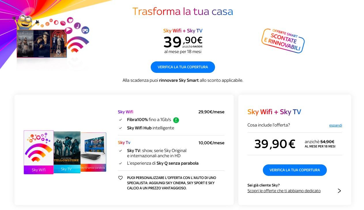 Sky Wifi con Sky TV a 39,90 euro per i primi 18 mesi