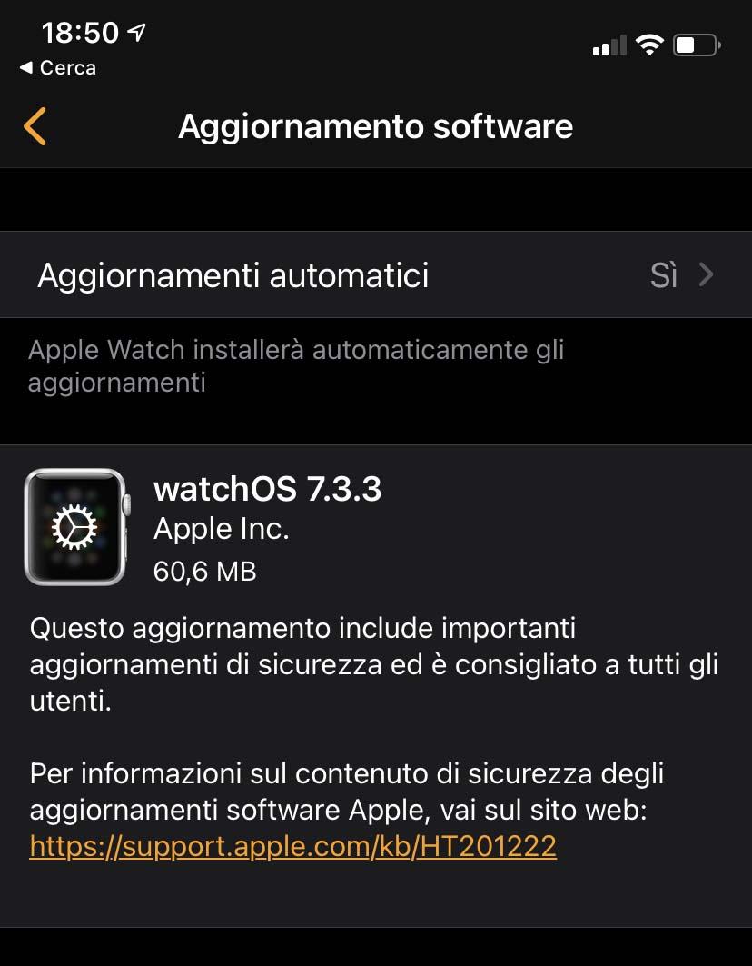 Disponibile aggiornamento a watchOS 7.3.3 con fix per la sicurezza