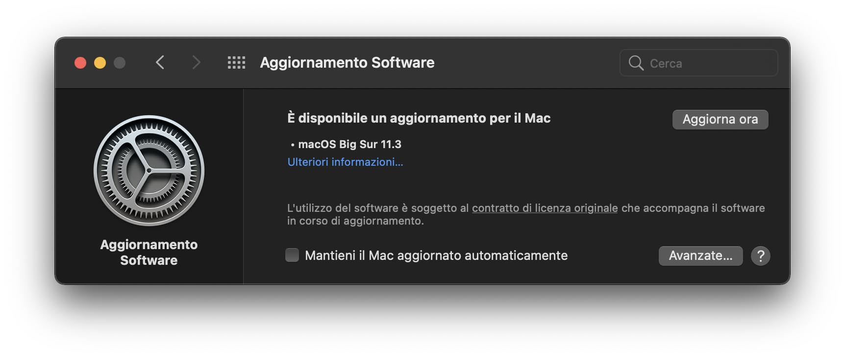 Disponibile aggiornamento a macOS Big Sur 11.3