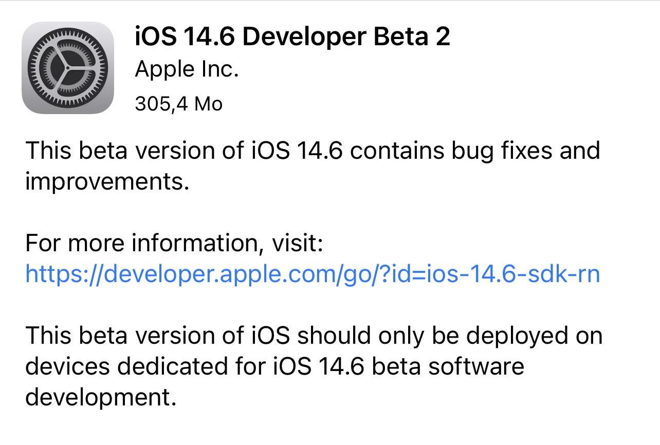 Seconda beta di iOS 14.6 e iPadOS 14.6 agli sviluppatori