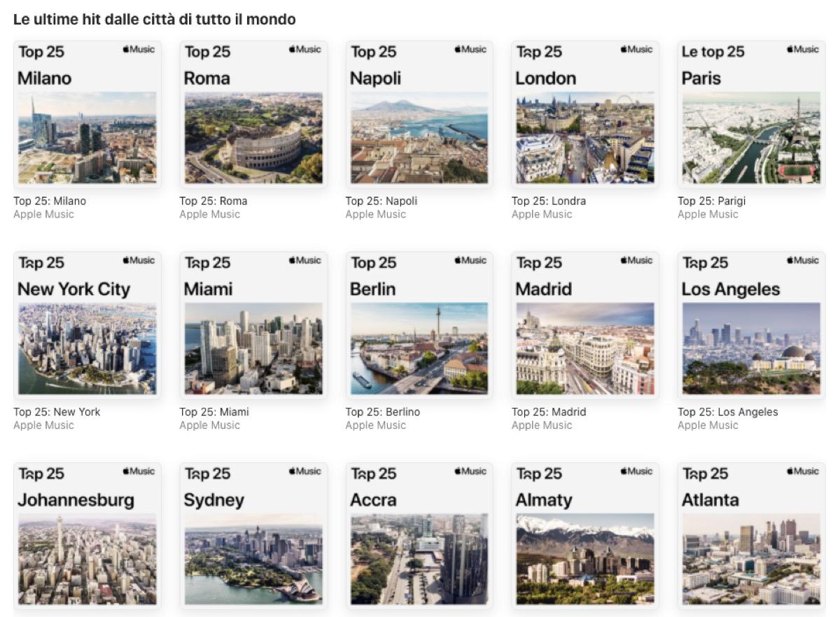 Apple Music pubblica la classifica canzoni per 100 città