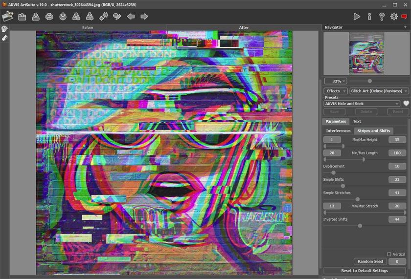 AKVIS ArtSuite 19 per Mac e PC, opera d'arte contemporanee con l'effetto Glitch