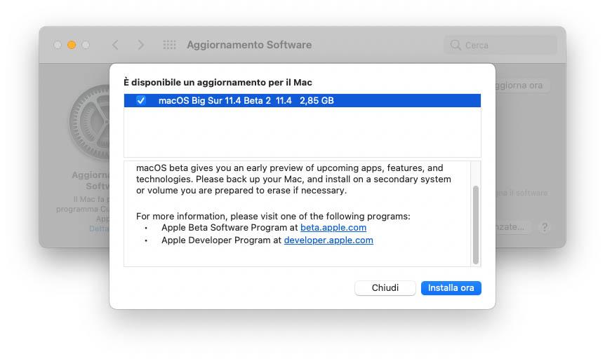 Prima beta di macOS 11.4 agli sviluppatori