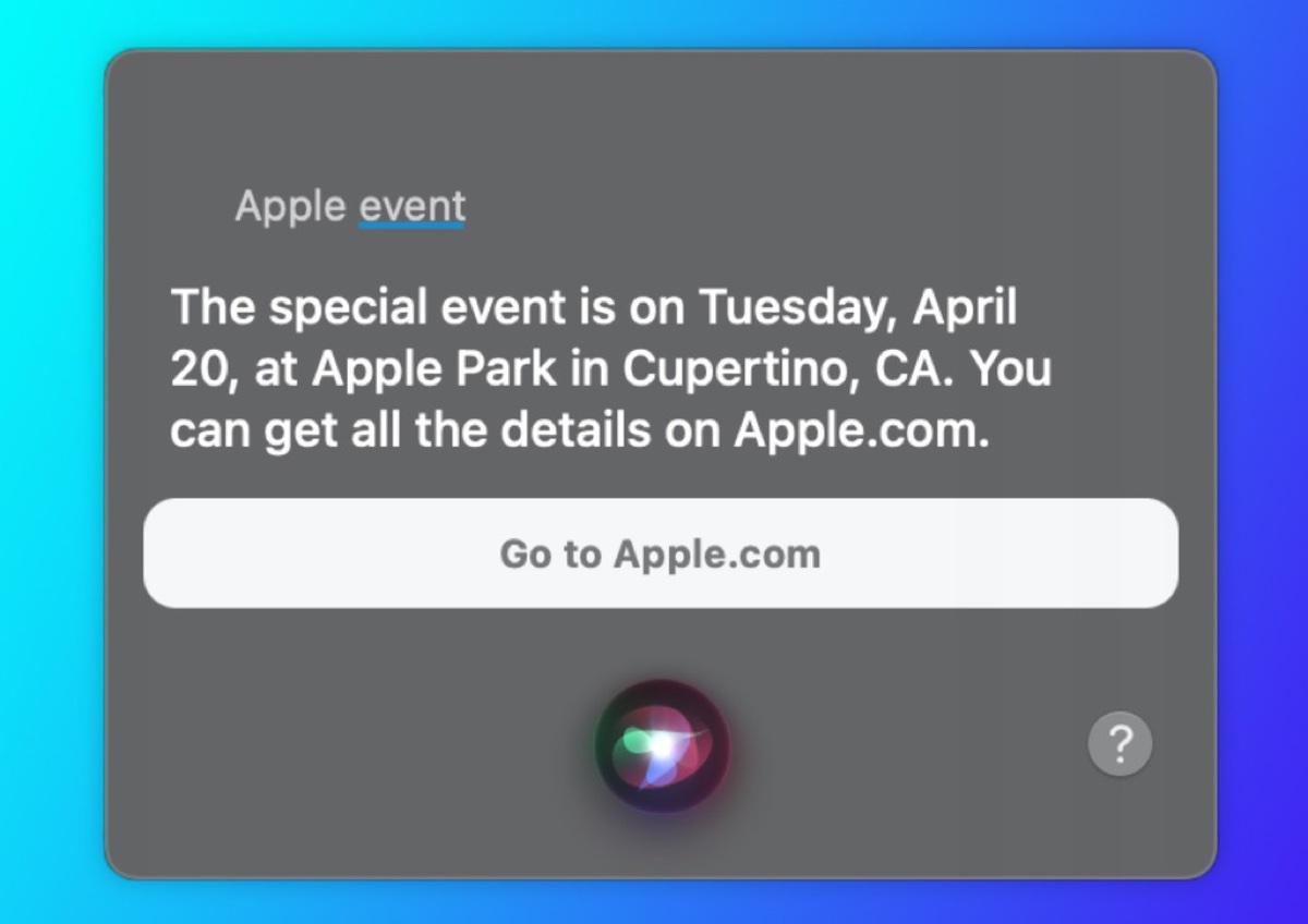 Evento Speciale Apple il 20 aprile, lo dice Siri