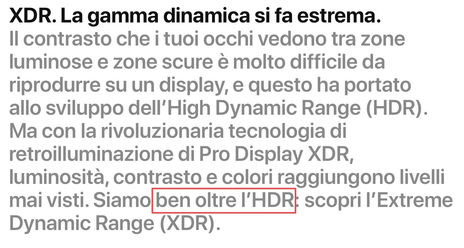Apple rimuove la dicitura «Ben oltre l'HDR» per Pro Display XDR