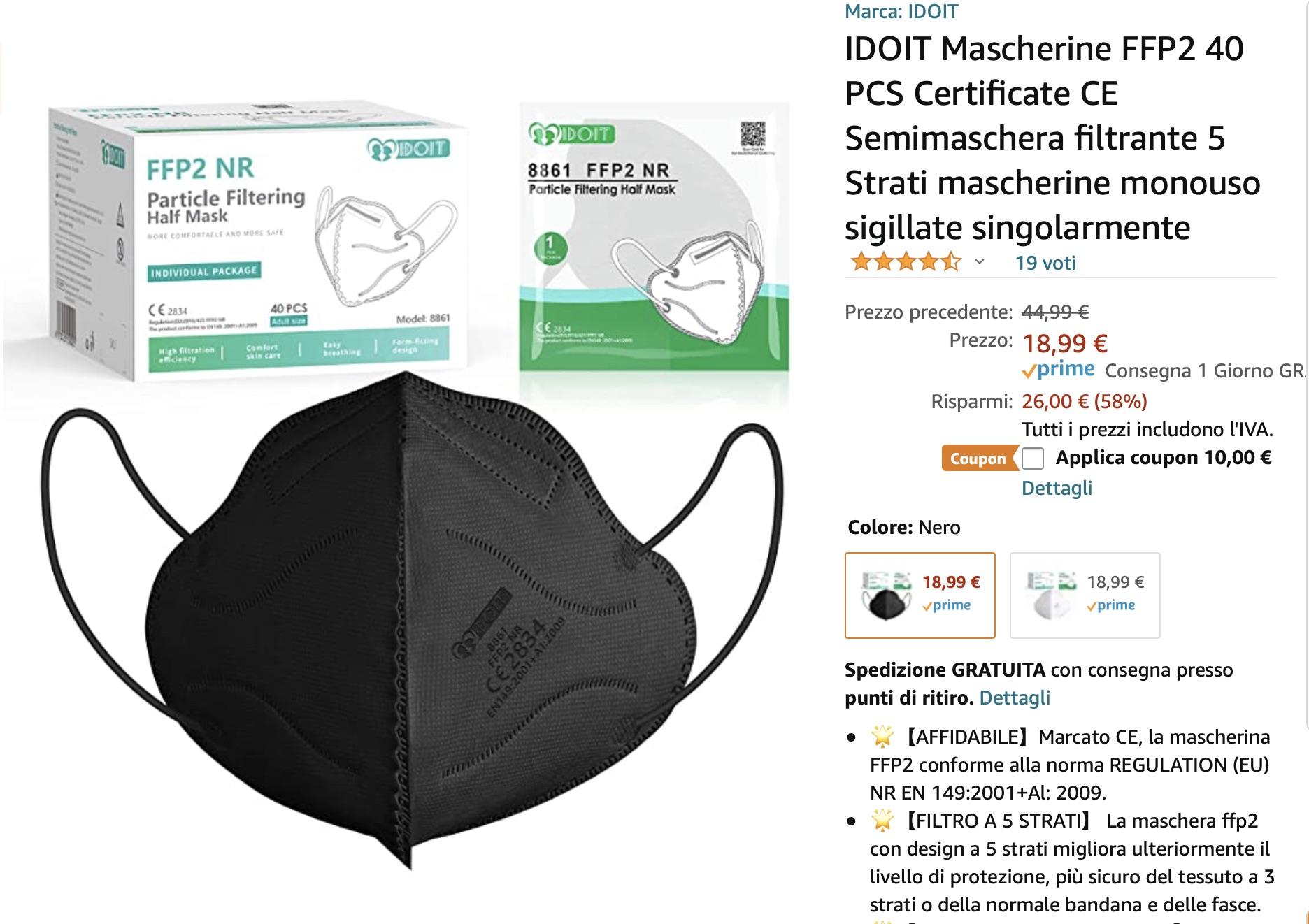 Errore di prezzo: 40 mascherine certificate a 8,99 € su Amazon: 22 cent l'una!