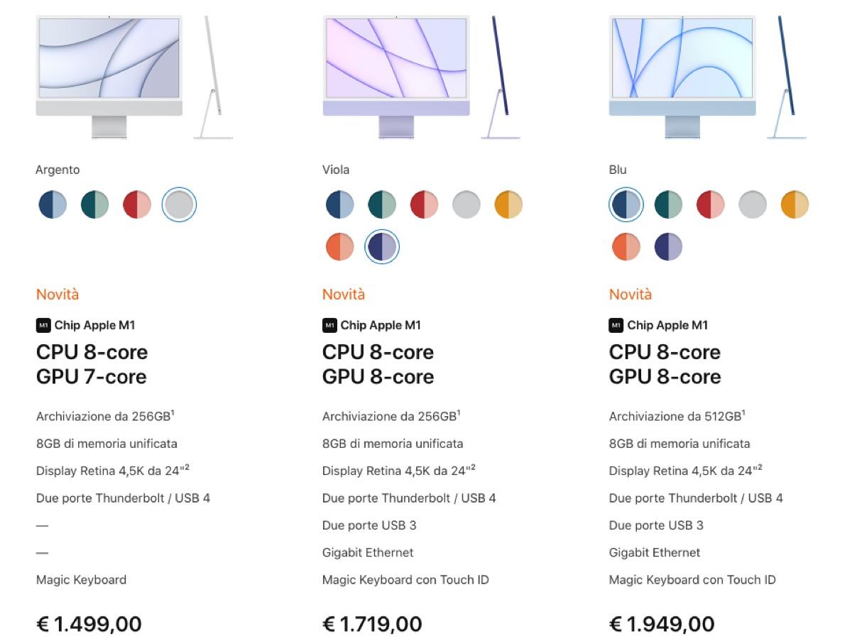 Prezzi iMac M1 in Italia, si parte da 1499 euro