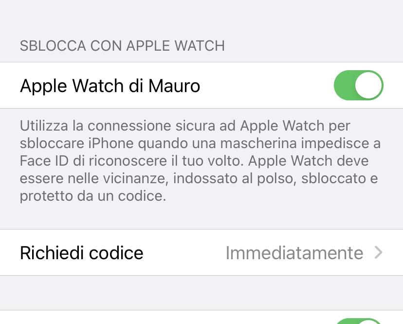 Come sbloccare l'iPhone con l'Apple Watch indossando la mascherina