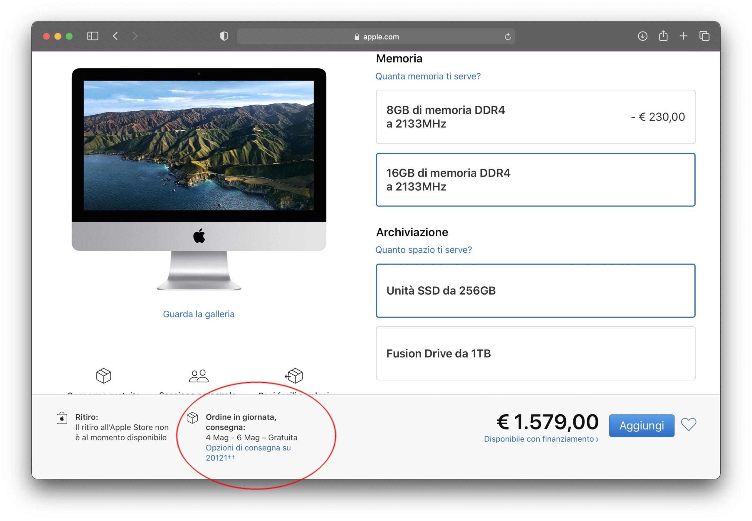 Bassa disponibilità iMac 21,5″ nell'Apple Store
