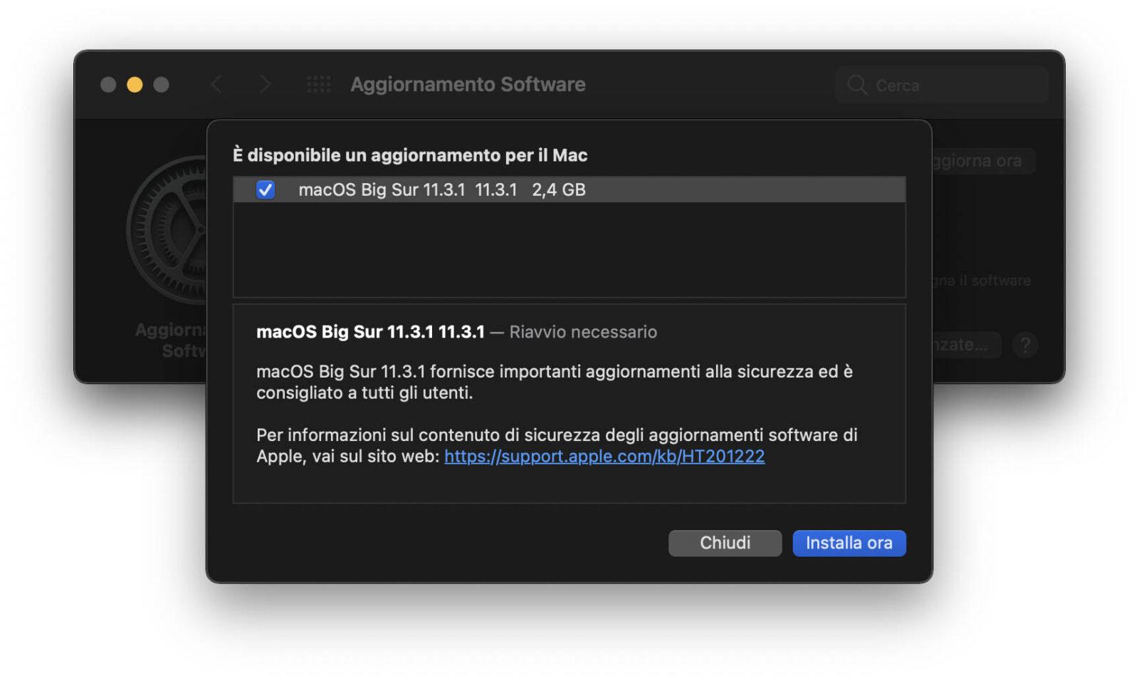 Rilasciato aggiornamento a macOS Big Sur 11.3.1 con fix per la sicurezza