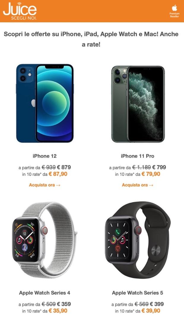 Da Juice mega sconti su iPhone, iPad, Watch e Mac anche a rate