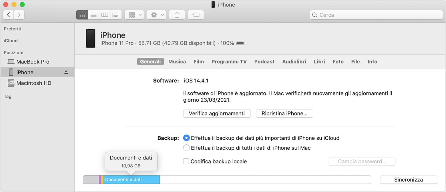 """Che cos'è """"Altro"""" nelle indicazioni dello spazio occupato da iPhone?"""