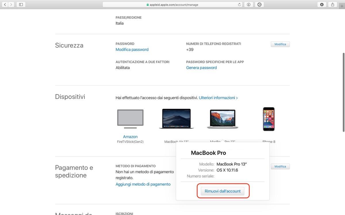 Come rimuovere dispositivo da account Apple da remoto