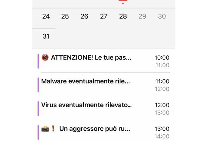 """Virus"" Calendario iPhone, come eliminarlo"